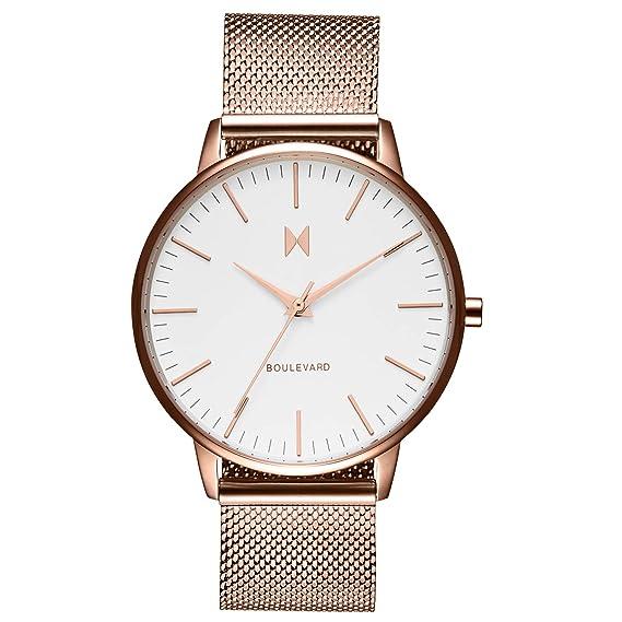 mvmt Boulevard Malibu Blanco/Rose Oro Acero Inoxidable Malla Mujer Reloj De Pulsera: Amazon.es: Relojes