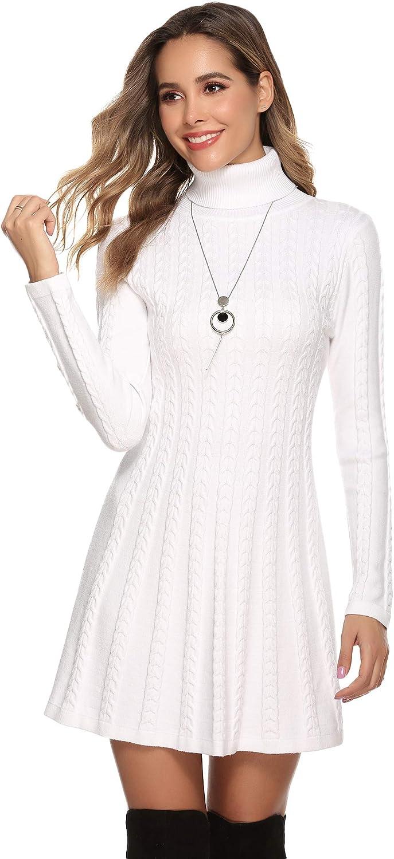 Hawiton Vestido de Punto para Mujer Elegante Vestido de Suéter de Cuello Alto Jersey de Manga Larga de Una Línea para Otoño Invierno