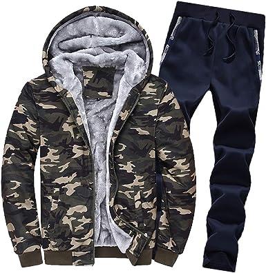 Men/'s Camouflage Tracksuit Set Hoodies Zip Jacket Coat Sweatpants Jogging Suits
