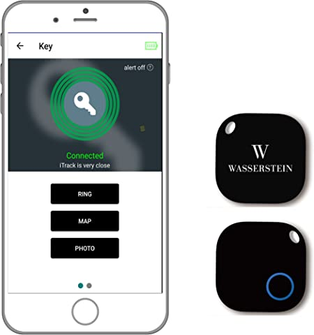 Buscador de llaves Bluetooth, rastreador de smartphones GPS, alarma inteligente anti pérdida, control remoto de cámara para dispositivos iOS y Android por Wasserstein, Negro: Amazon.es: Deportes y aire libre