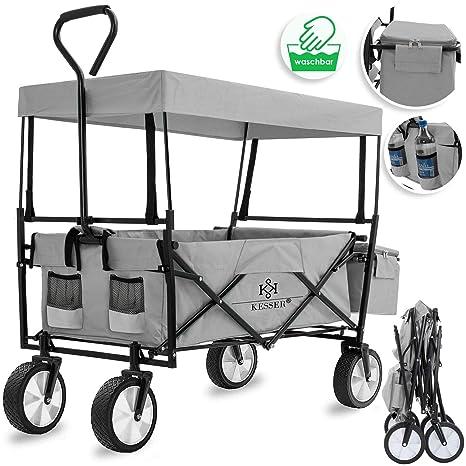 Kesser® Bollerwagen faltbar mit Dach Handwagen Transportkarre Gerätewagen | inkl. 2 Netztaschen und Einer Außentasche | klapp