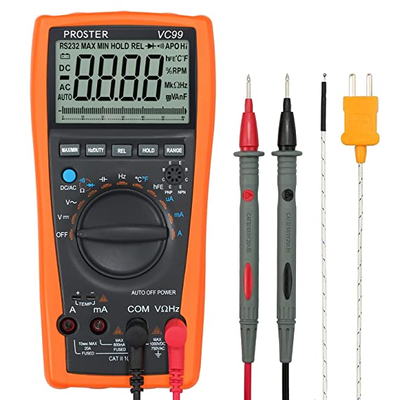 Proster Auto Ranging Digital Multimeter 6000 Counts And 2000uf