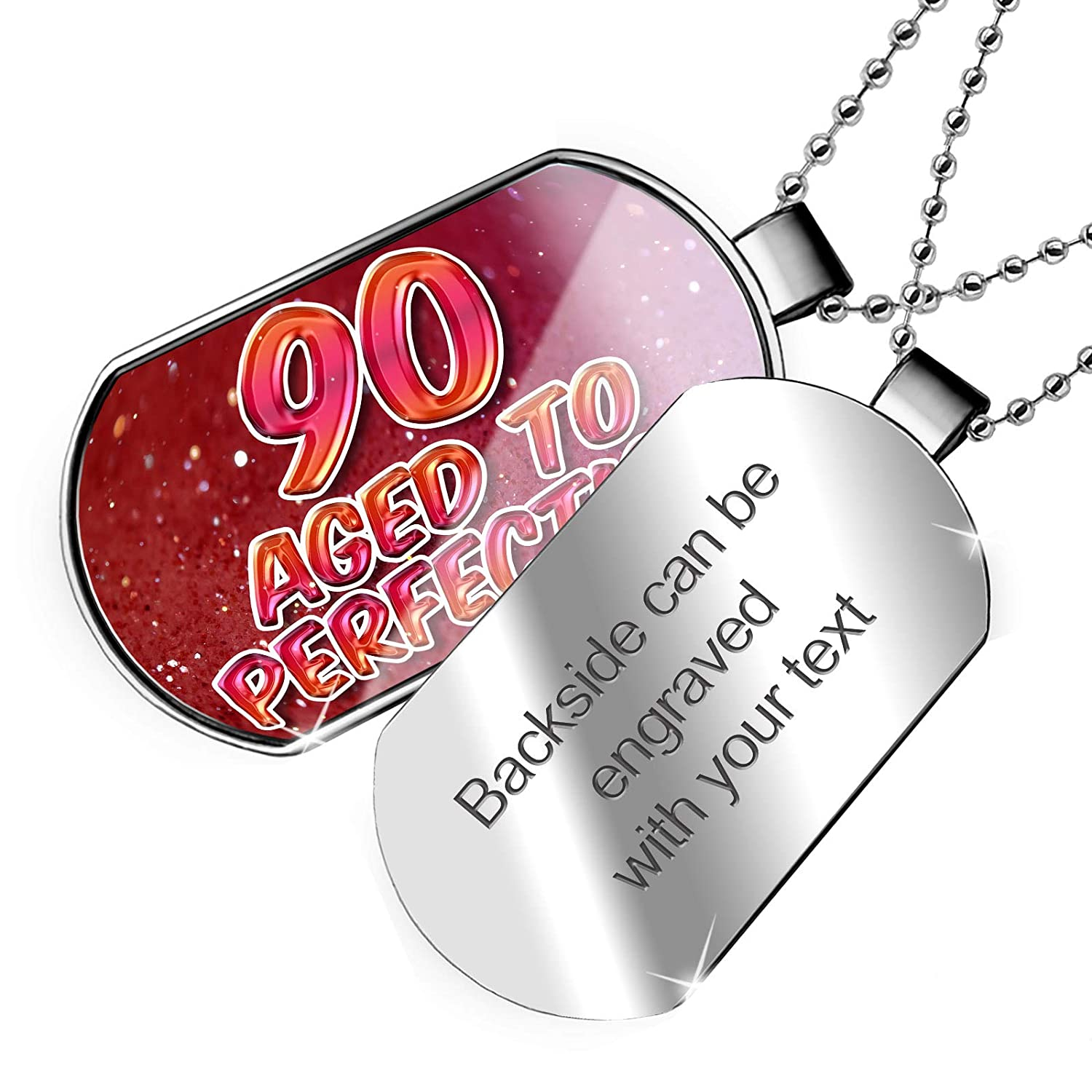 Aged to Perfection Happy Birthday Dogtag Necklace NEONBLOND Personalized Name Engraved 90 Years