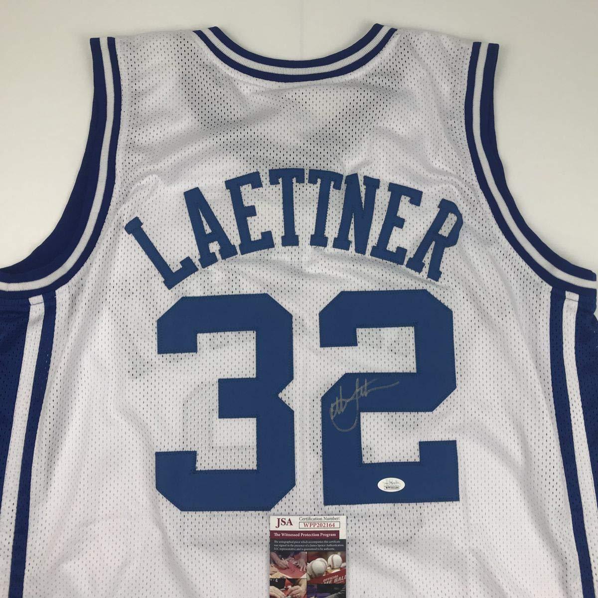 Autographed/Signed Christian Laettner Duke Blue Devils White Basketball Jersey JSA COA