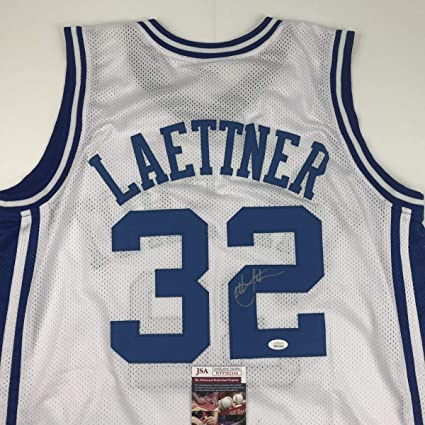 buy popular 7b712 47888 Autographed/Signed Christian Laettner Duke Blue Devils White ...