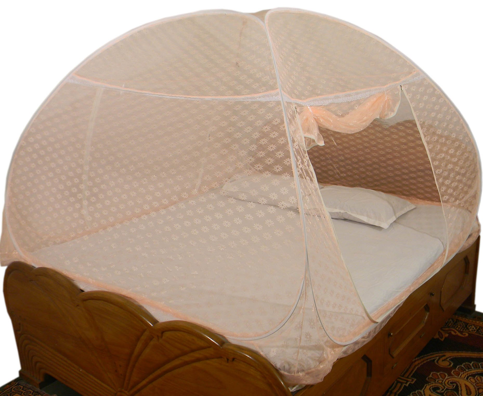 Healthy Sleeping Foldable Polyester Double Bed Mosquito Net - Embroidery (Badam Pink Prime) product image