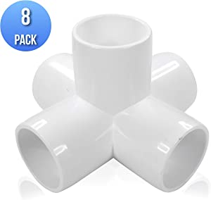 """(8-Pack) 5-Way, 1 Inch Cross PVC Compression Fitting, Furniture Grade SCH40, 1"""" Inch Size, White (8)"""