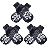 EXPAWLORER Double Side Anti-Slip Dog Socks with Adjustable Straps - Strong Traction Control for Indoor on Hardwood Floor Wear