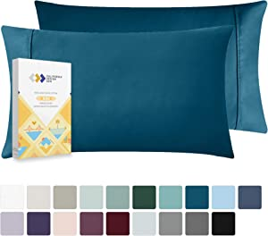 California Design Den Peacock Blue Pillow Case Set - Natural Cotton 400 Thread Count, Standard Size 2 Piece Pillow Cover Set, Lightweight Sateen Weave Pillow Shams