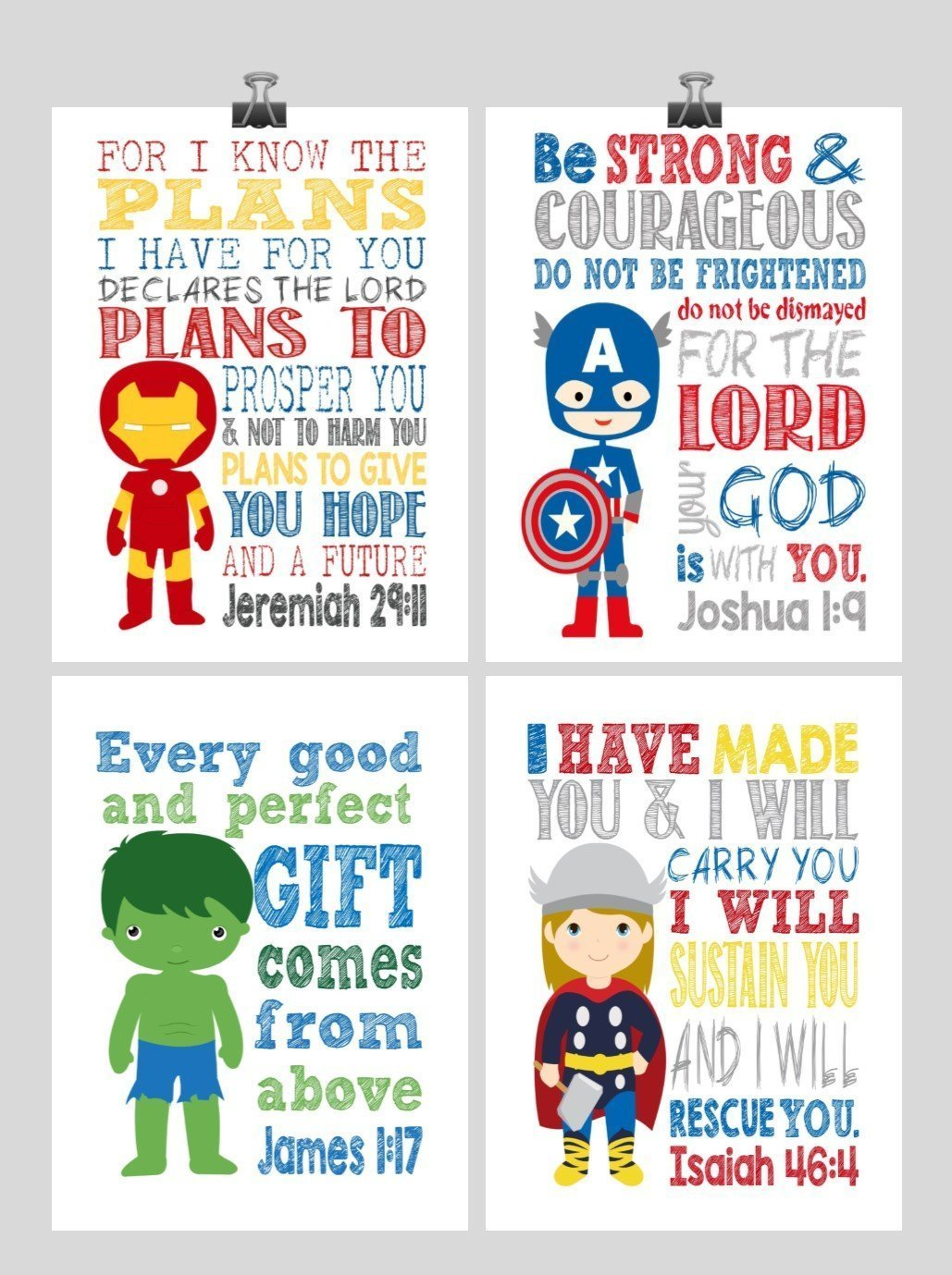 Avengers Christian Superhero Nursery Decor Art Print Set of 4 - Thor, Captain America Hulk and Ironman - Multiple Sizes by Pixie Paper