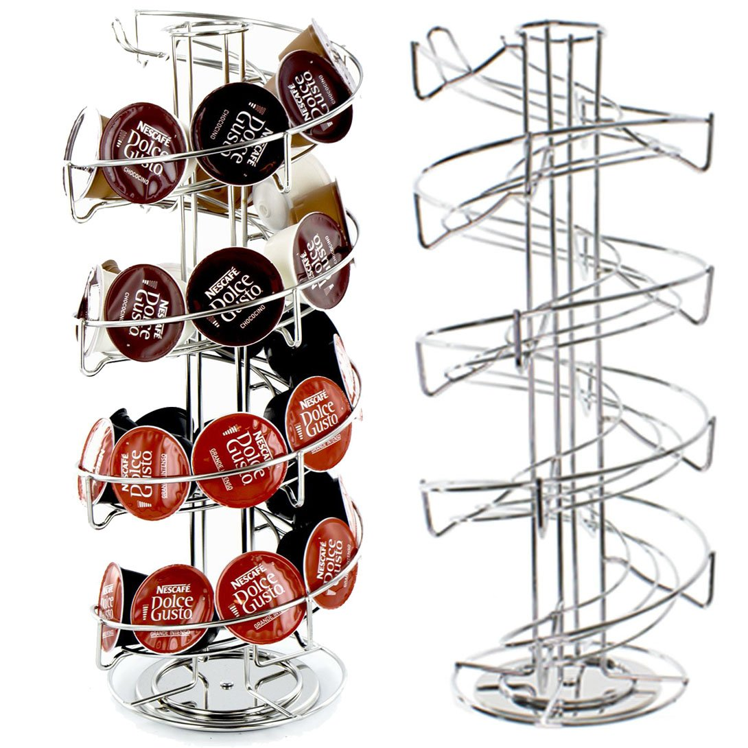 SPARES2GO 40 Spiral Rotating Pod Disc Holder Rack for Nescafe Dolce Gusto and Tassimo Coffee Machines (40 Capsule Dispenser Tower)