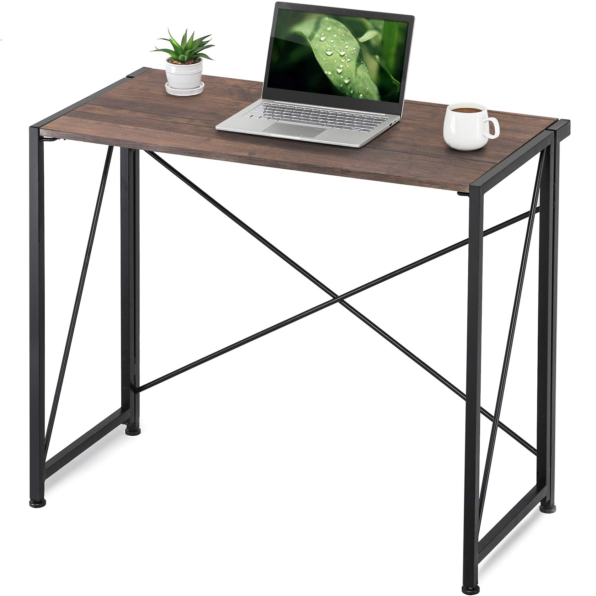 Homury Floding Computer Desk,Wood and Metal Writing Table for Home & Office, Espresso,HCD109001WE