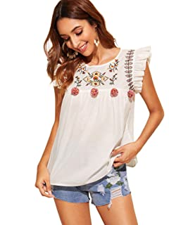bfdc401a50 Floerns Women's Floral Embroidered Ruffle Babydoll Peplum Tops Blouse