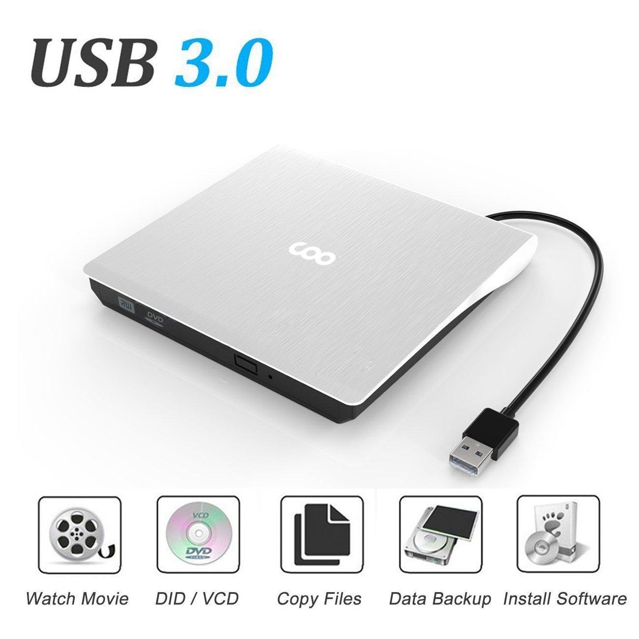 CD Drive, COO USB 3.0 External CD Drive Portable CD DVD +/-RW Drive Slim DVD/CD ROM Rewriter Burner High Speed Data Transfer External DVD Drive for Laptop MacBook Pro/Desktop Windows 7/8/10 (White)