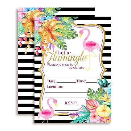 amazon com watercolor tropical flamingo fill in party invitations