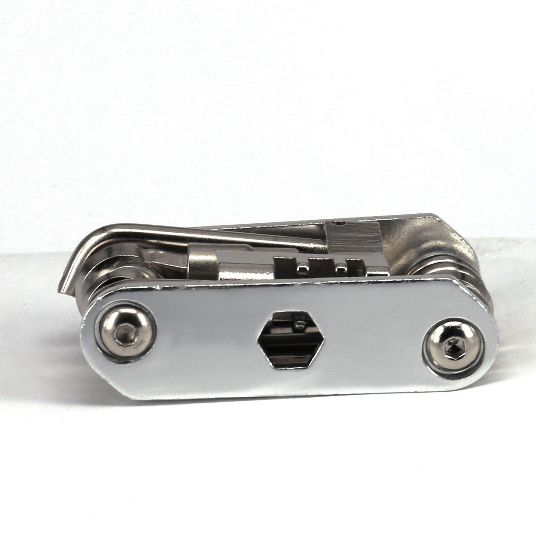 Portable Bike Bicycle Cycling Mechanic Repair Tool Kit- 14 in 1 Multi-function-Silver-SCS ETC