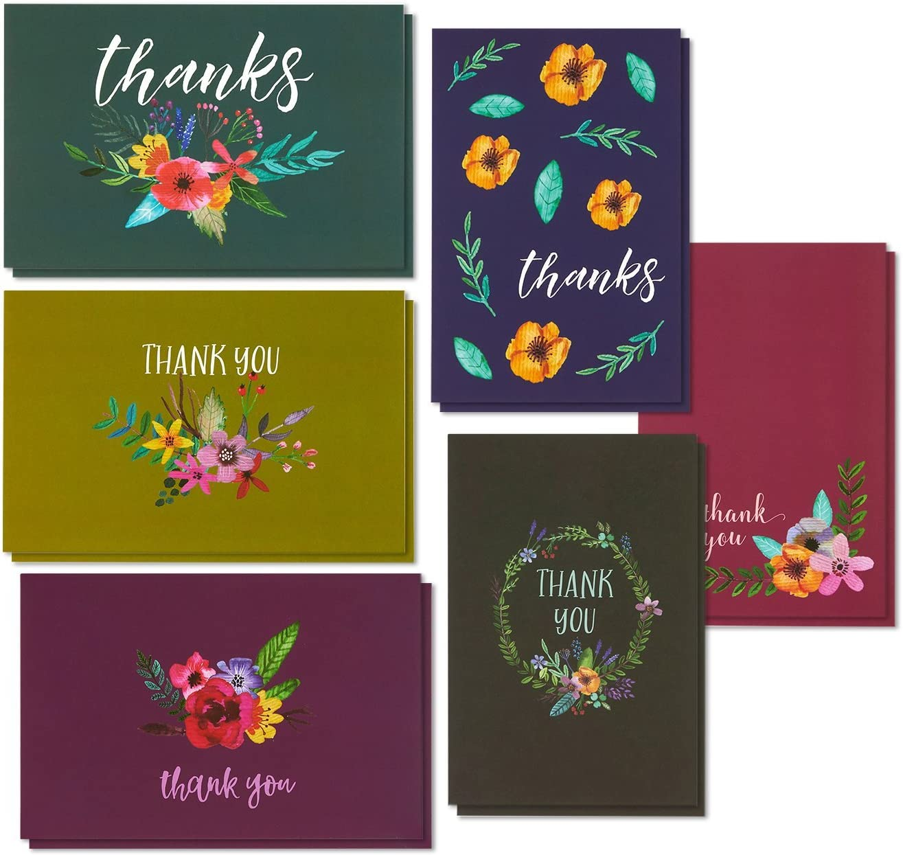 Thank You Cards - 48-Count Thank You Notes, Bulk Thank You Cards Set - Blank on the Inside, 6 Jewel Toned Watercolor Flower Floral Designs – Includes Thank You Cards and Envelopes, 4 x 6 Inches