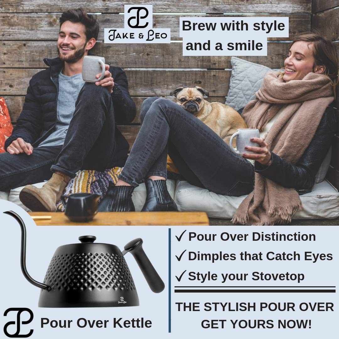 Jake & Leo Pour Over Kettle - Premium Stylish Dimpled Design, Stainless Steel - Gooseneck Specialty Kettle for Kitchen Stovetop - 34oz, Matte Black, Long Spout for Boiling, Pouring; Brew Coffee & Tea by Jake & Leo (Image #5)
