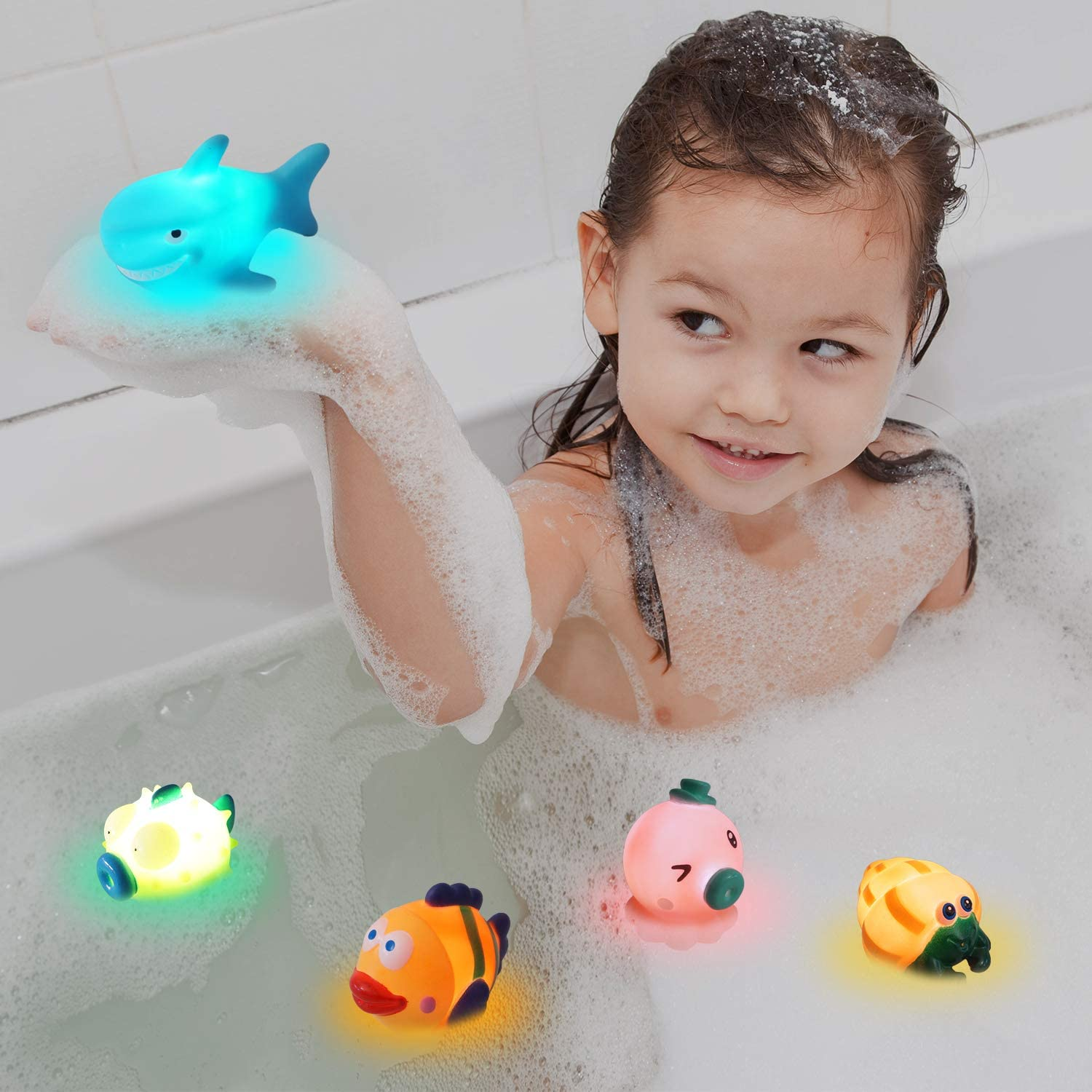 6 Packs Baby Toys for Bath Bath Toys for 1 Year Old Toddlers Baby Bath Toys Floating Toys with Flashing Colourful LED Light for Toddlers Boys Girls Age 1 2 3 4 Light Up Water Toys Set for Kids