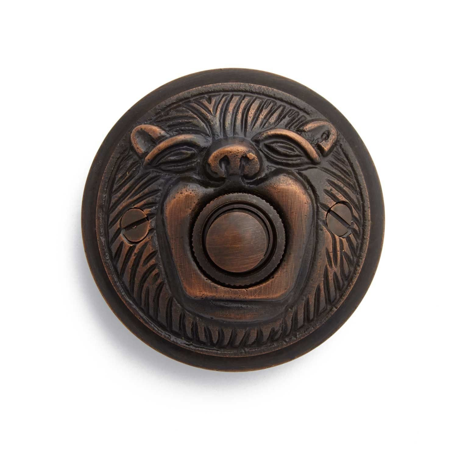 Casa Hardware Lion's Head Solid Brass Metal Doorbell with Push Button in Oil Rubbed Bronze Finish