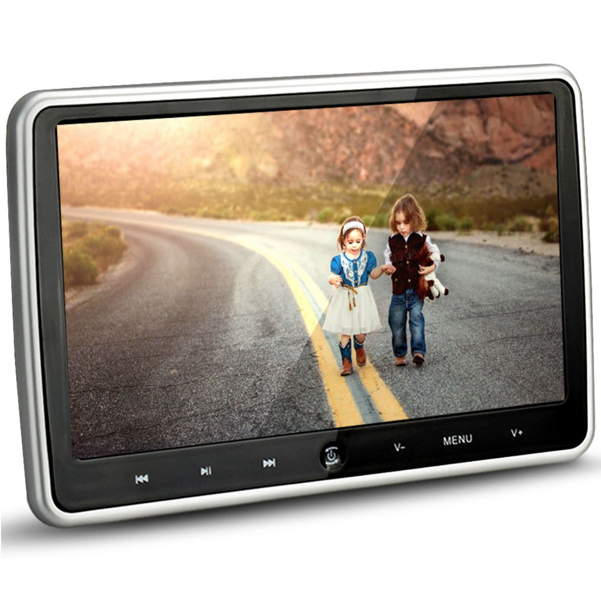 Alondy 10.1 Inch HD 1024 x 600 HDMI USB SD IR/FM Ultra Thin Digital Touch Key LCD Screen Car DVD Player Headrest Monitor