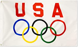 DANF 3' x 5' USA Olympics Game Flag Banner Durable Polyester with Brass Grommets 3X5 Foot