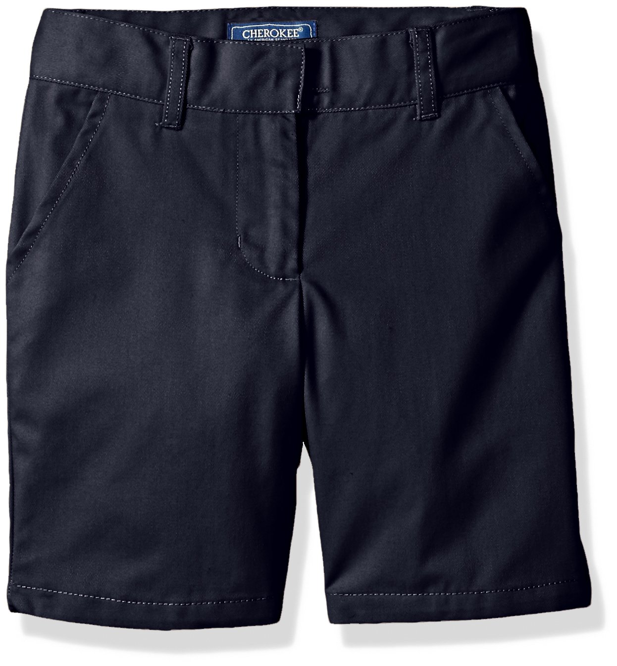 Cherokee Big Girls' Uniform Twill Shorts, Navy, 12