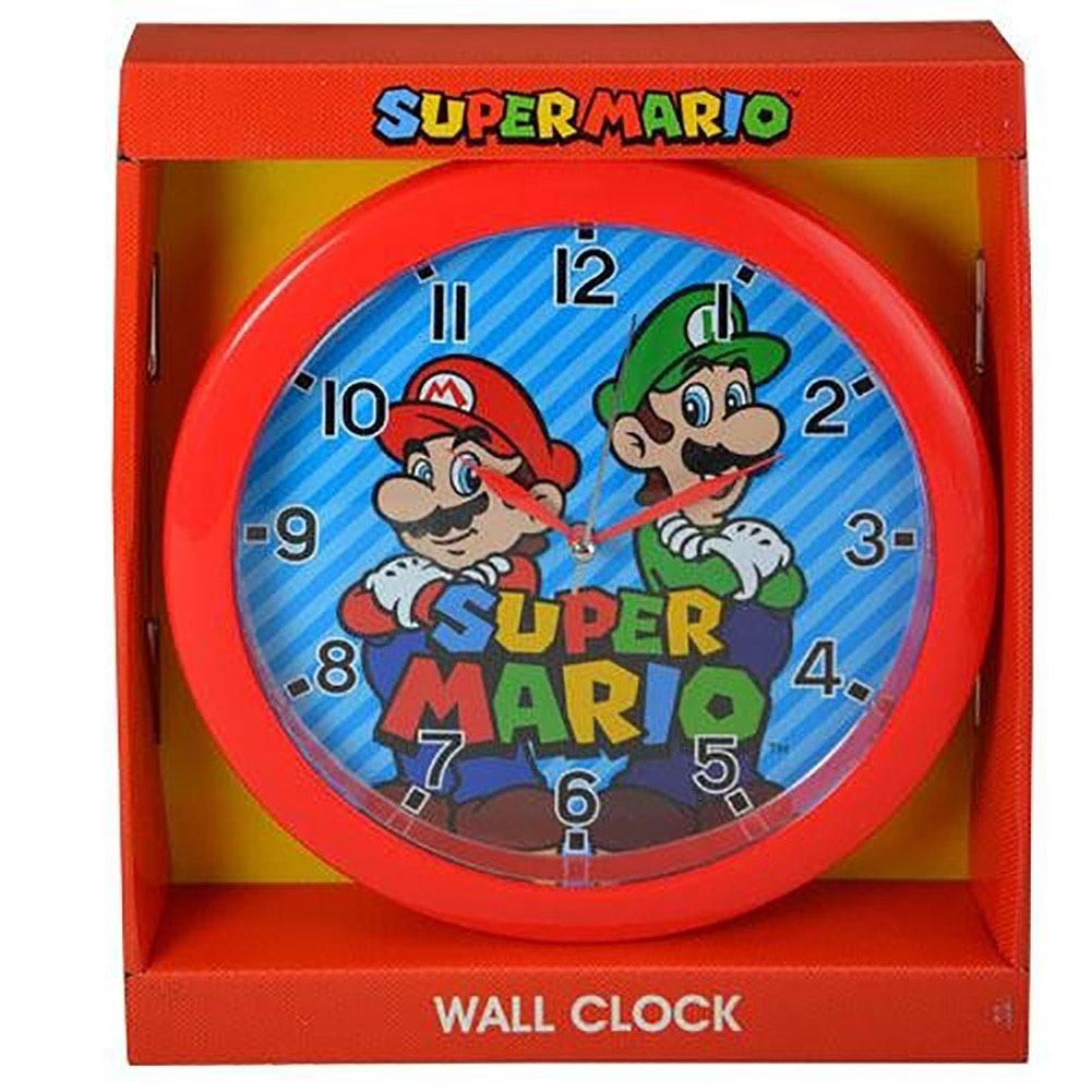 Super Mario 10'' Round Wall Clock in Open Window Box