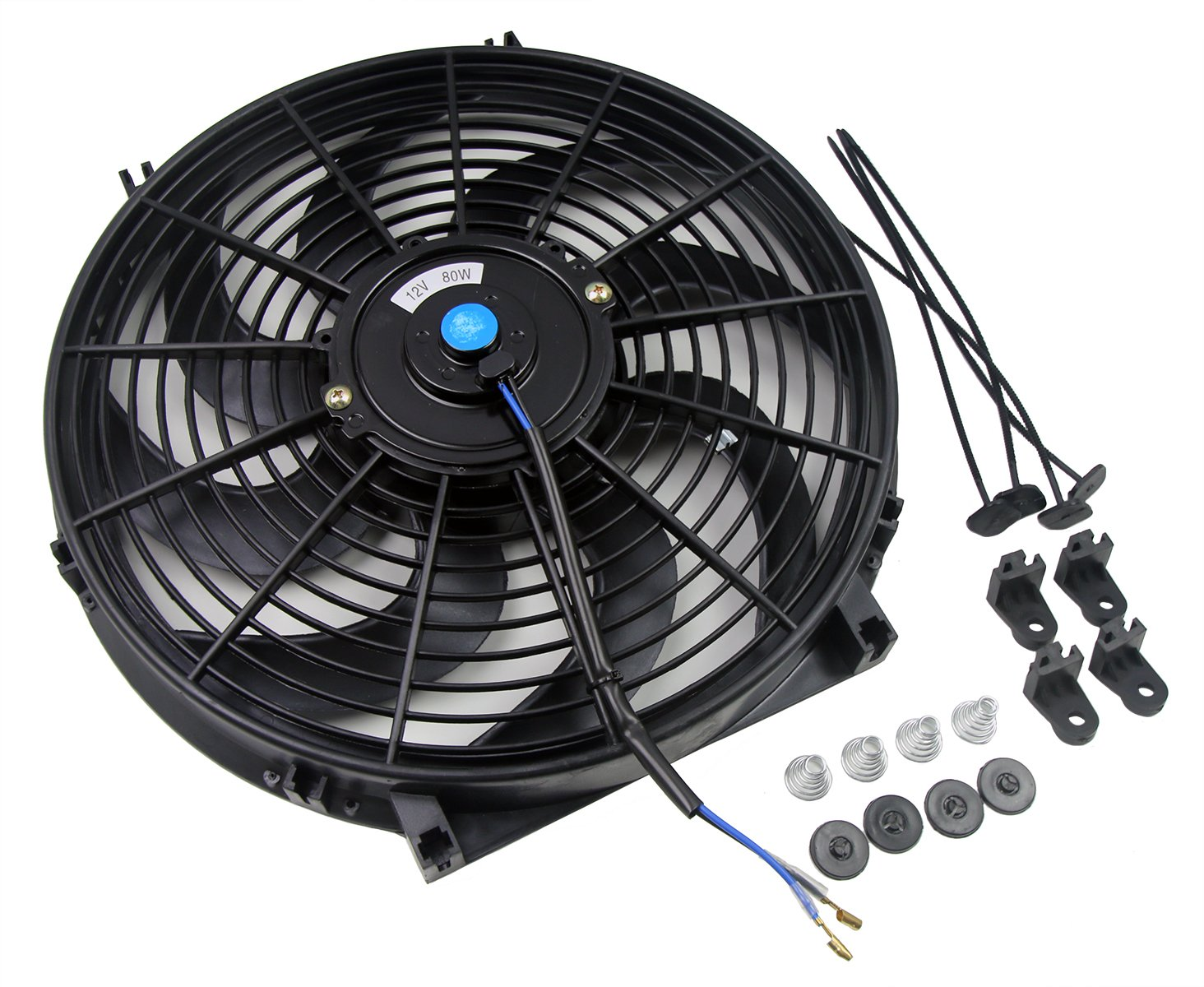 SUNDELY® 14 inch 12V 80W Universal Slim Line Curved Blade Electric Radiator Engine Cooling Fan