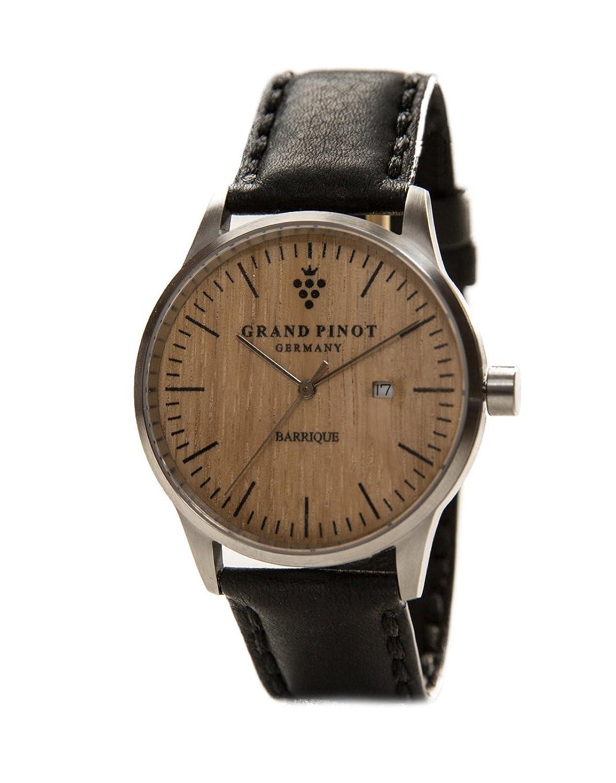 Grand Pinot Herren-Armbanduhr CHARACTER (42 mm) Silber-Barriquefass mit schwarzem Lederarmband (stilvolle Holzuhr