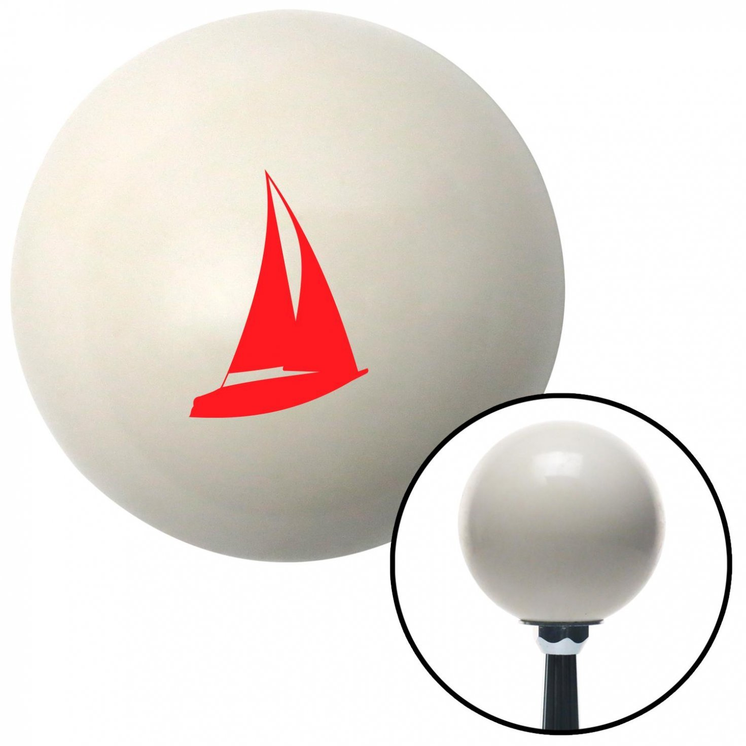 American Shifter 35457 Ivory Shift Knob with 16mm x 1.5 Insert Red Sailboat