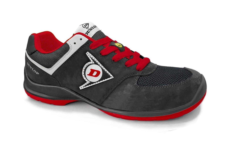 Dunlop DL0201037-43 Zapato, Piel de Ante y Mesh, Negro y Rojo, 43