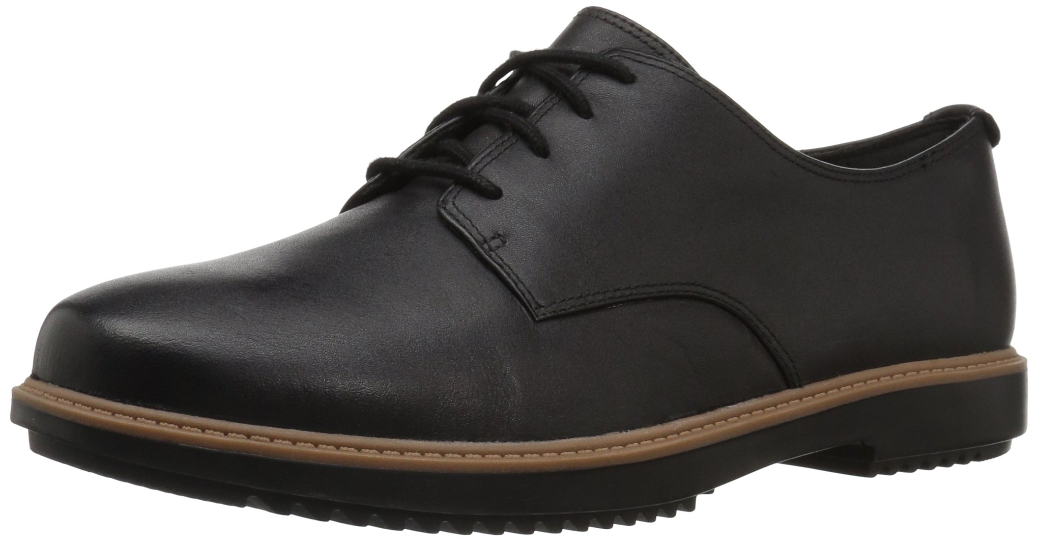 CLARKS Women's Raisie Bloom Oxford, Black Leather, 8 M US
