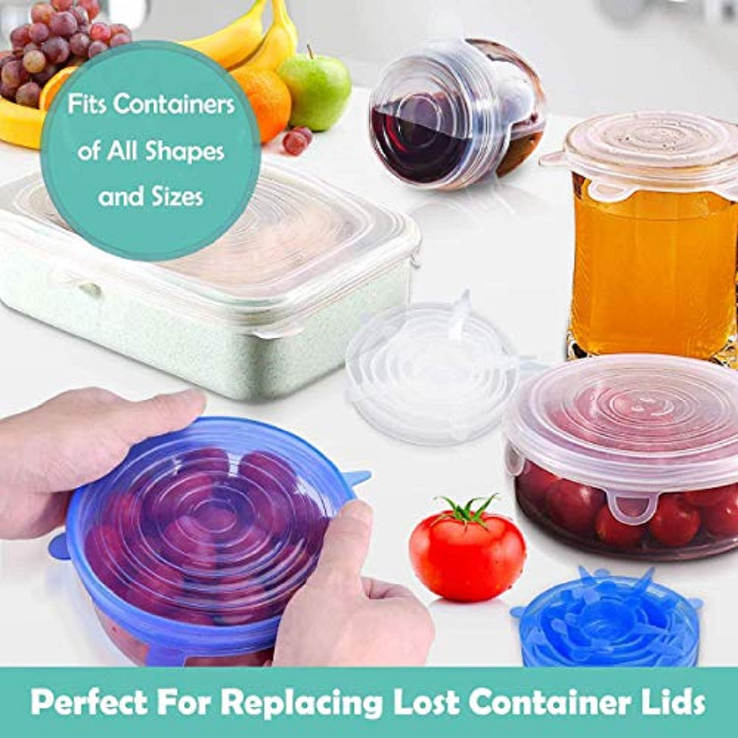 HXPEVER Silicone Stretch Lids,12 Pack Stretch Seal Lids for Food/Bowls/Containers/Jars/Cups,Reusable Silicone Covers for Food & Leftovers -Keep Food Fresh,Eco-Friendly BPA-Free Silicone Fresh Cover