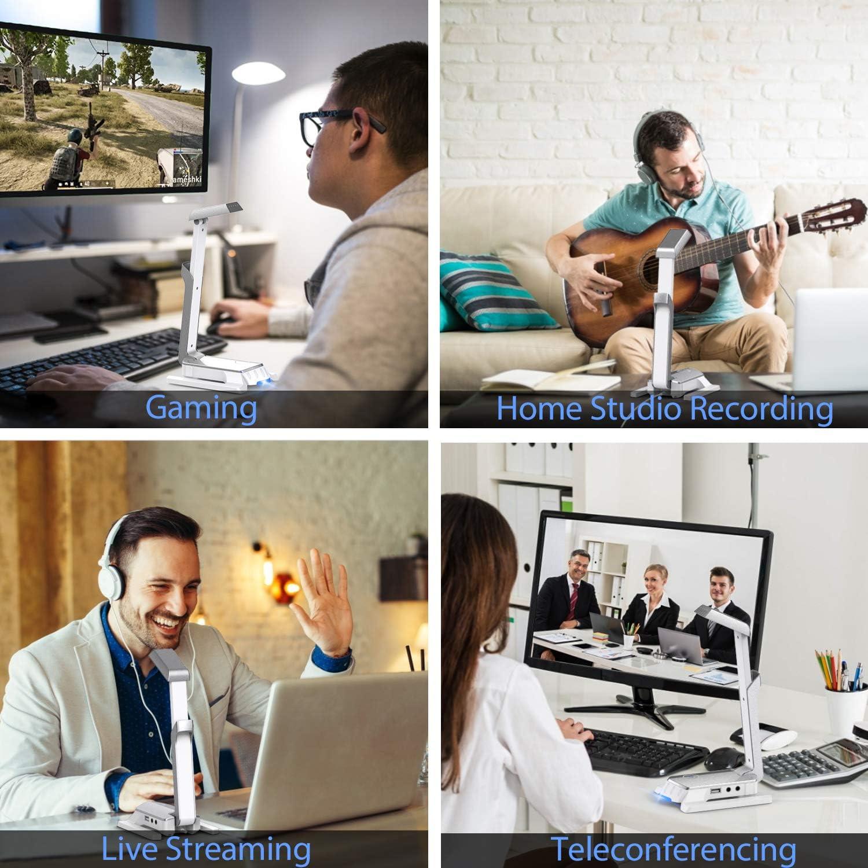 Cenawin Micr/ófono de Condensador para Videojuegos USB, para Ordenador, con luz LED, Tarjeta de Sonido est/éreo para Windows//Mac, Skype, Youtube, Juegos de Chat en l/ínea