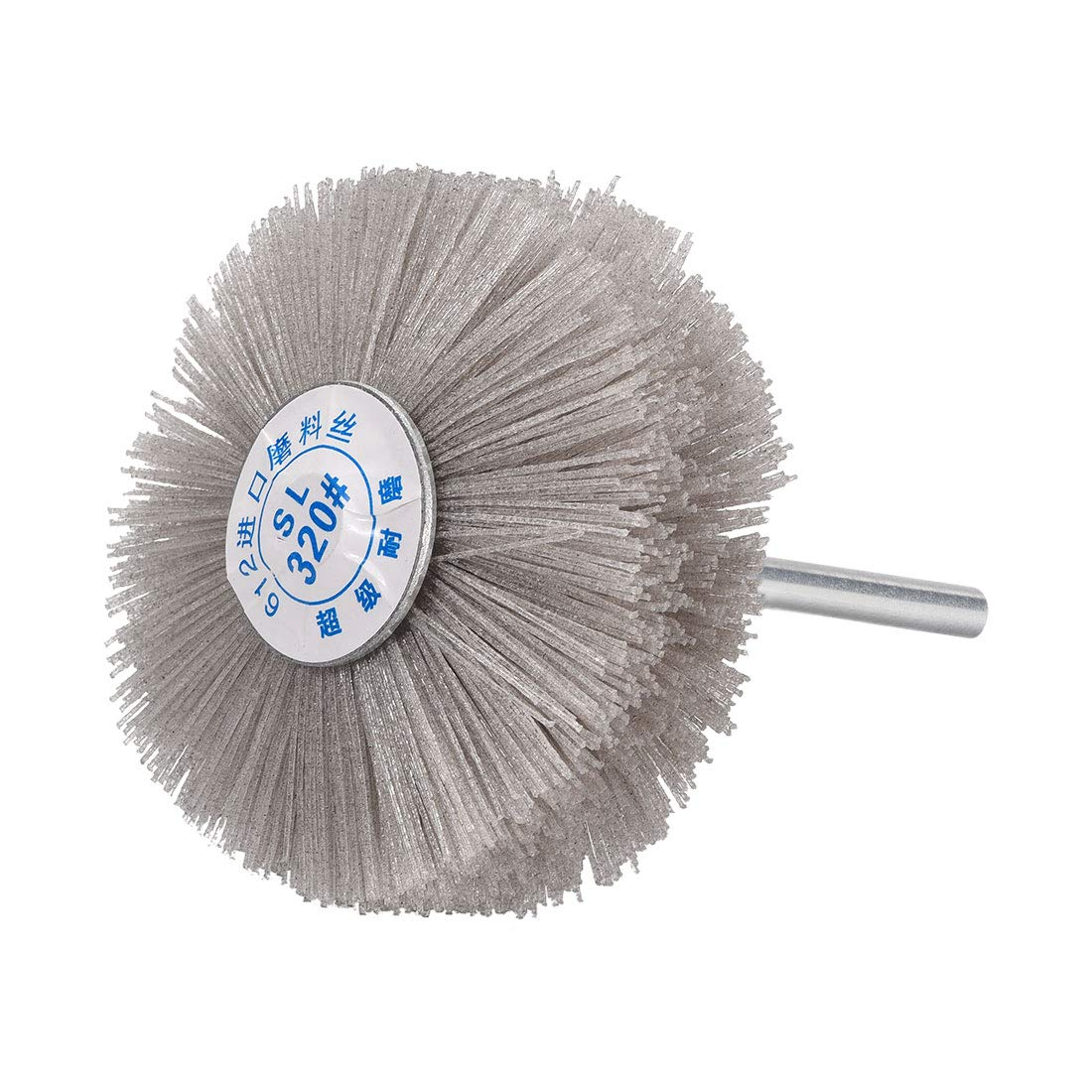uxcell Abrasive Nylon Wheel Brush 120 Grits with 1//4 Inch Shank for Polish Grinder