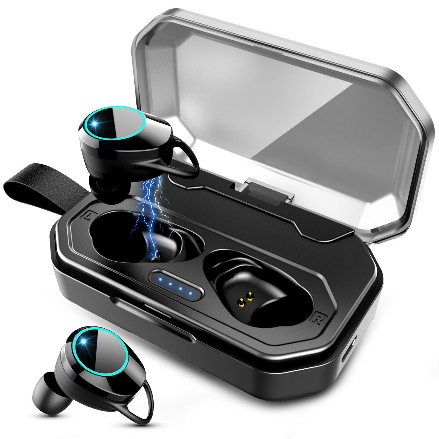 Bluetooth 5.0 TWS Wireless Earbuds, IPX7 Waterproof Headphones in-Ear Earphones, Built-in Mic Stereo Headset Premium Sound with Deep Bass for Sport