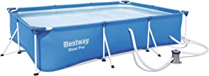 Bestway Steel Pro 9.8ft x 5.6ft x 26in Rectangular Above Ground Swimming Pool Set with 330 GPH Filter Pump