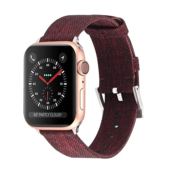 Lwsengme Compatible with Apple Watch Series 4/3/2/1 Band Women Men, Soft Canvas Fabric Straps Compatible with iWatch Series 38/40mm 42/44mm