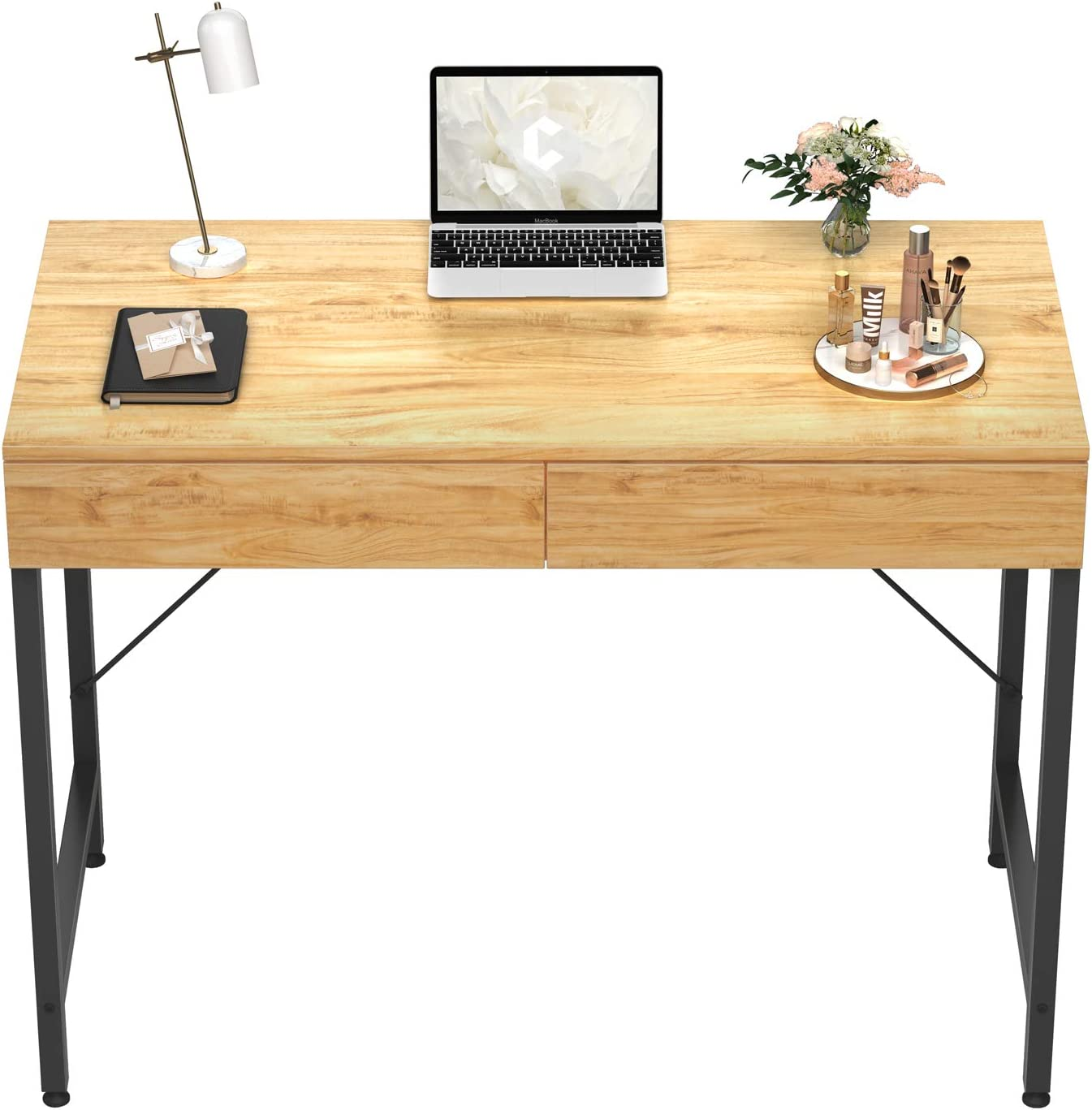CubiCubi Computer Small Desk, 40 inches with 2 Storage Drawers for Home Office Writing Desk, Makeup Vanity Console Table, Walnut