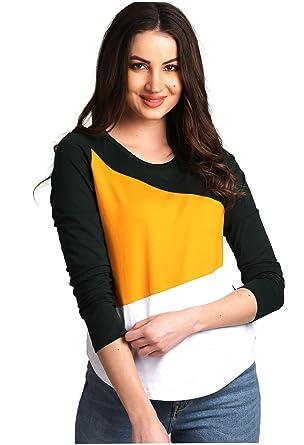 f060bc6cc AELOMART Women's Cotton Round Neck Full Sleeve Top (Multicolor, X-Small)