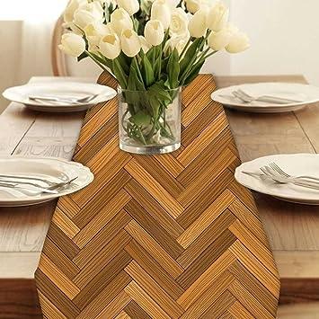 Snoogg Vector Holz Parkettboden Modern Digital Muster Tischlaufer