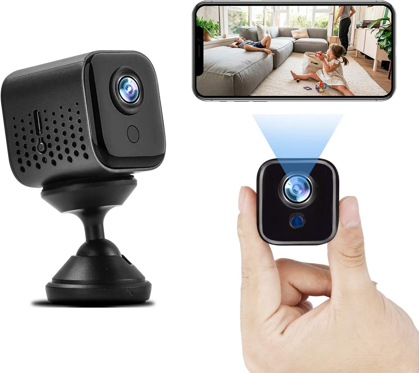 Hidden Camera Mini Wireless Camera, Full HD 1080P WiFi Small Camera Nanny Cam with Night Vision Motion Activation for Home Indoor Outdoor Office Car Use, Portable Security Camera