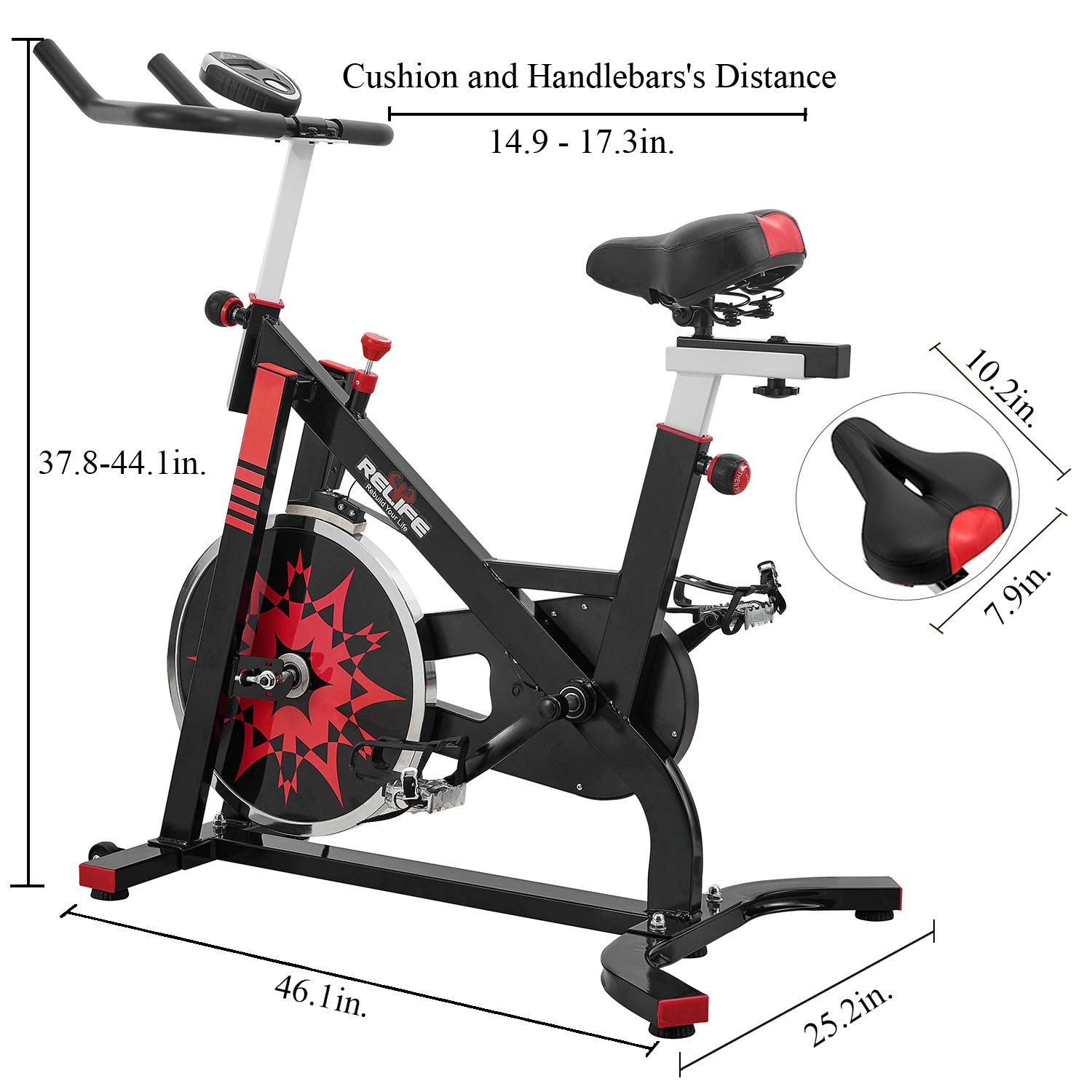 RELIFE REBUILD YOUR LIFE Spin Bike Stationary Indoor Cycling Gym Resistance Workout Home Gym Fitness Machine Exercise Bike by RELIFE REBUILD YOUR LIFE (Image #3)
