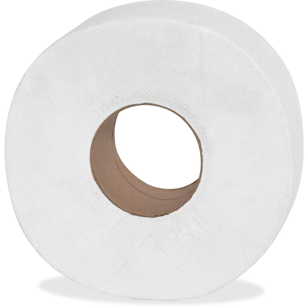 Genuine Joe GJO2565012 2-Ply Jumbo Roll Dispenser Bath Tissue, 650', White (Pack of 12)