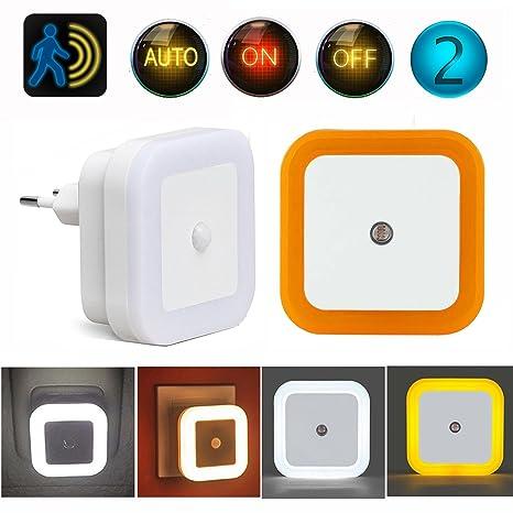 2 Luces Nocturna Sensor de Movimiento Luz Sensor Crepusculo Automática Luz Noche Enchufe Interruptor ON/