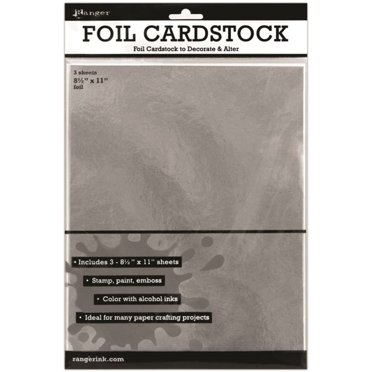 Multi colored cardstock paper - Ranger Surfaces Silver Foil Cardstock 8 5 By 11 Inch