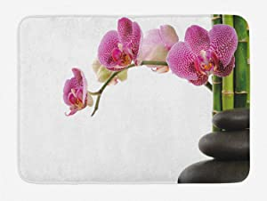 "Ambesonne Meditation Bath Mat, Spa Stones Orchid and Bamboo Stems Yoga Chakra Image, Plush Bathroom Decor Mat with Non Slip Backing, 29.5"" X 17.5"", Green Fuchsia"