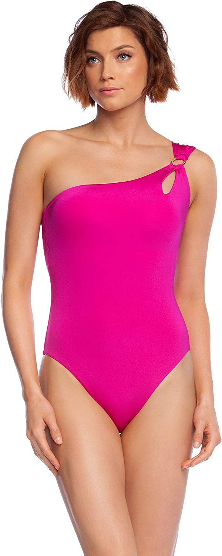 Trina Turk Womens Getaway Solids Shoulder One Piece Swimsuit