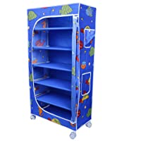 Little One's | 6 Shelves Foldable Wardrobe/Toy Box | Aquatic Blue